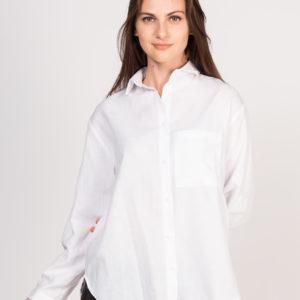 Cepli beyaz keten gömlek